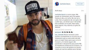 La denuncia del cantante Nacho a través de su cuenta de Instagram