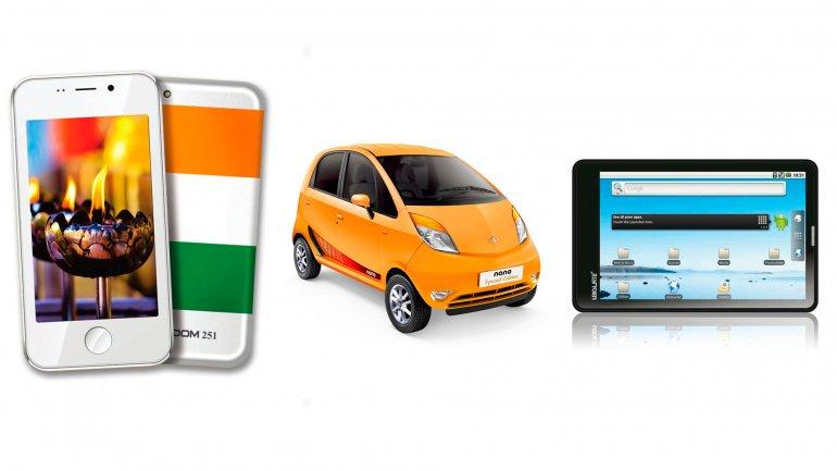 El smartphone Freedom 251, el automóvil Tata Nano y la tablet Aakash son los productos más baratos del mundo en sus rubros.