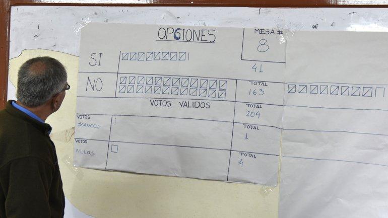 Un jurado electoral registra el conteo de votos en el referéndum de Bolivia