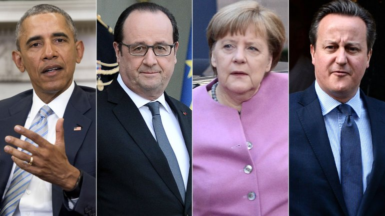 Barack Obama, François Hollande, Angela Merkel y David Cameron
