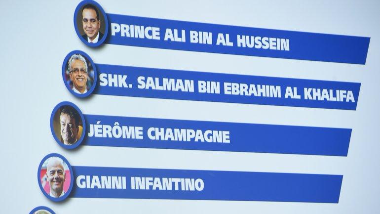 Gianni Infantino, Jerome Champagne,Alibin Al Hussein ySalmanbin Hamad bin Isa Al Jalifa van por la presidencia de la FIFA