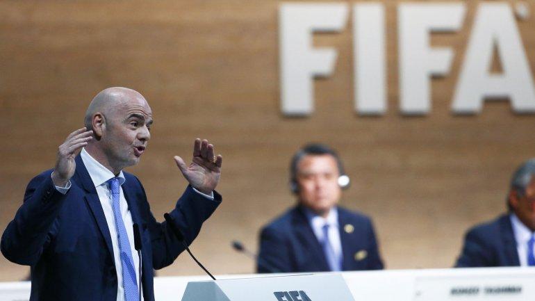 Gianni Infantino durante su discurso en el Congreso donde fue elegido presidente de la FIFA