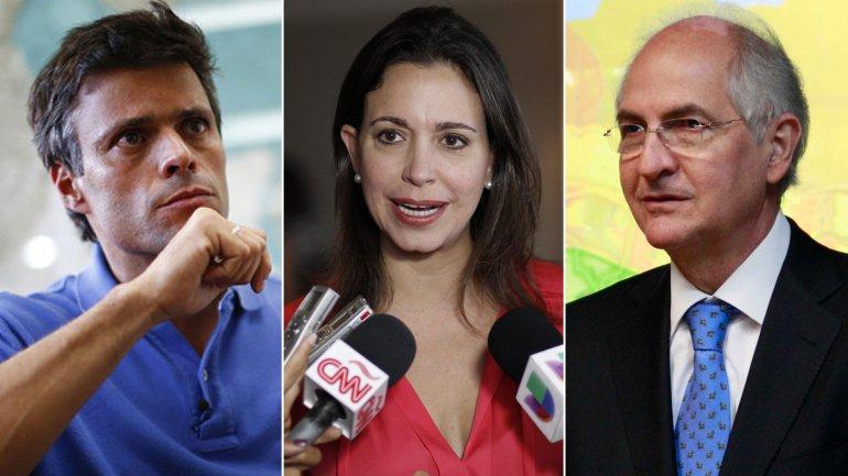Los opositores venezolanos Leopoldo López, Corina Machado y Antonio Ledezma