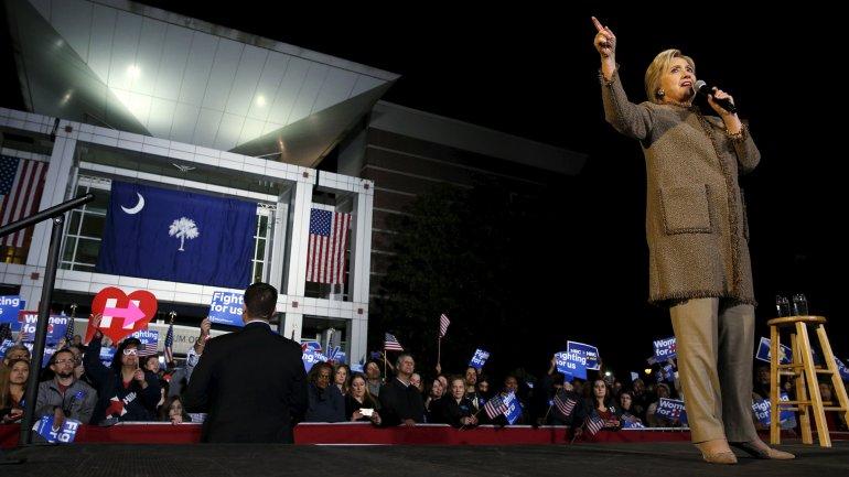 Hillary Clinton, en un acto de campaña en Columbia