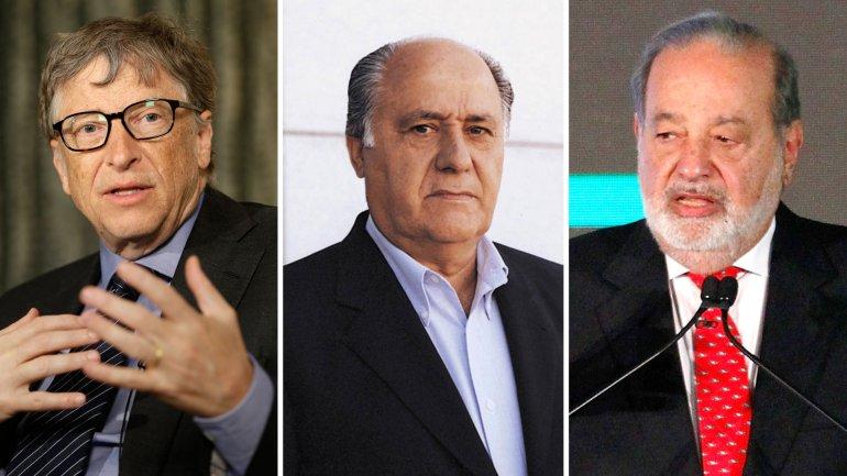 Bill Gates, Amancio Ortega y Carlos Slim