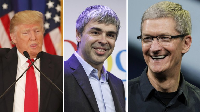 Donald Trump, Larry Page (Google) y Tim Cook (Apple)