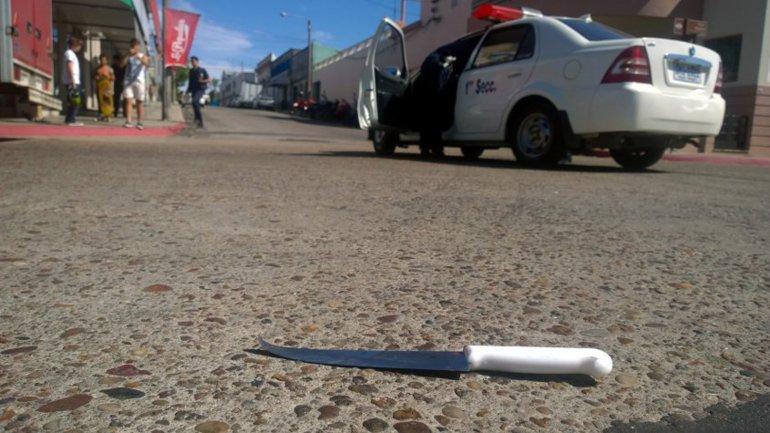 El cuchillo que usò Carlos Omar Peralta López, alias Abdullah Omar, para matar aDavid Fremd en una calle de Paysandú
