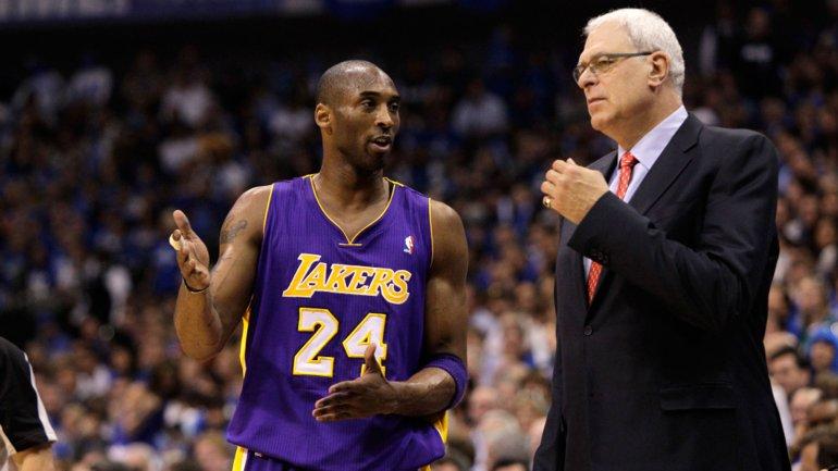 Kobe Braynt junto a Phil Jackson en Los Ángeles Lakers