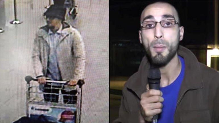 Faisal Cheffou como el hombre del sombrero minutos antes del atentado en el aeropuerto de Bruselas y en una foto que retrata una época en la que trabajó como periodista freelance