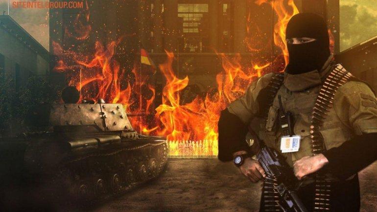 Imagen difundida por ISIS que representa a un terrorista frente a la cancillería de Alemania