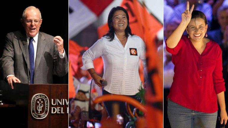 Pedro PabloKuczynski, Keiko Fujimori y Verónika Mendoza, candidatos a la Presidencia de Perú