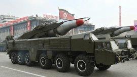 Un misil Musadan de Corea del Norte, mostrado durante un desfile militar