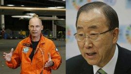 El piloto dialogó con el Secretario General sobre el cuidado al medio ambiente mientras volaba sobre el Pacífico en un avión solar