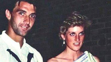 Slobodan Živojinović y Diana Spencer, en 1987. La princesa todavía estaba casada con el Príncipe Carlos.