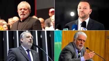 El ex presidente Lula y los ministrosde la Secretaría de la Presidencia, Ricardo Berzoni; de Información, Edinho Silva, y al jefe de Gabinete de la Presidencia, Jaques Wagner