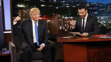 Donald Trump junto a Jimmy Kimmel
