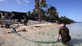 El agua avanza sobre el archipiélago de Tuvalu, en la Polinesia.