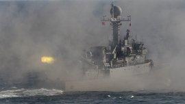 Un buque de guerra de Corea del Sur realiza ejercicios en el Mar Amarillo