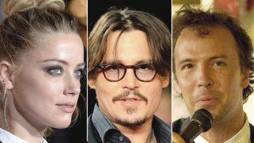 Amber Heard, Johnny Depp y el comediante Doug Stanhope, quien se metió en medio de la disputa legal por abuso doméstico