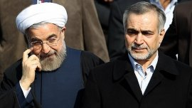 El presidente iraní, Hassan Rouhani, junto a su hermano, Hossein, que está siendo investigado por corrupción.