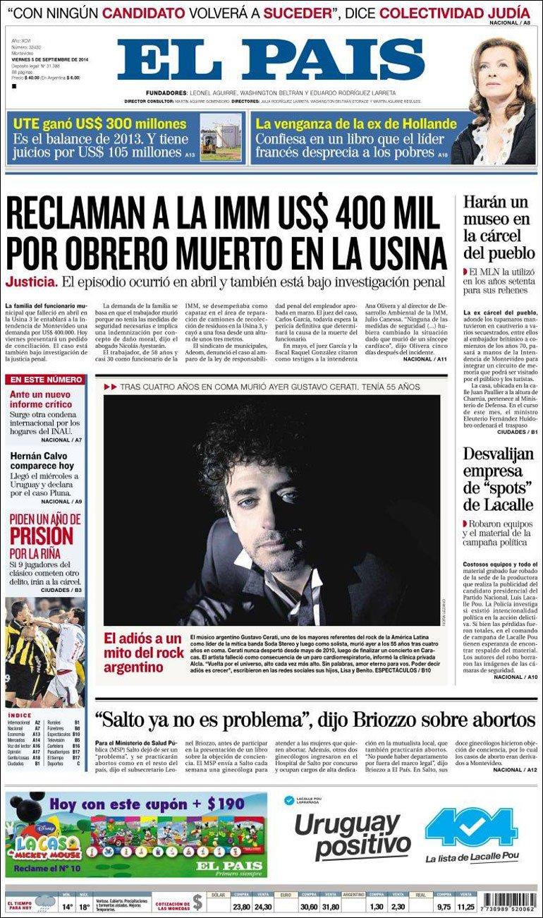 La prensa de am rica latina homenajea a gustavo cerati for Las ultimas noticias del espectaculo argentino