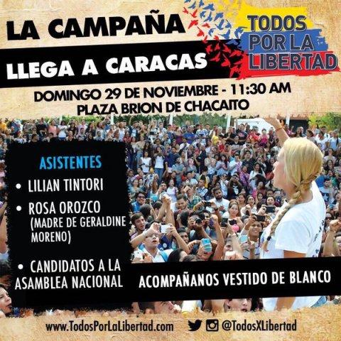 La convocatoria se realizará en Caracas