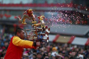 Actuación en la ciudad china de Shenyang durante las celebraciones del Año Nuevo chino