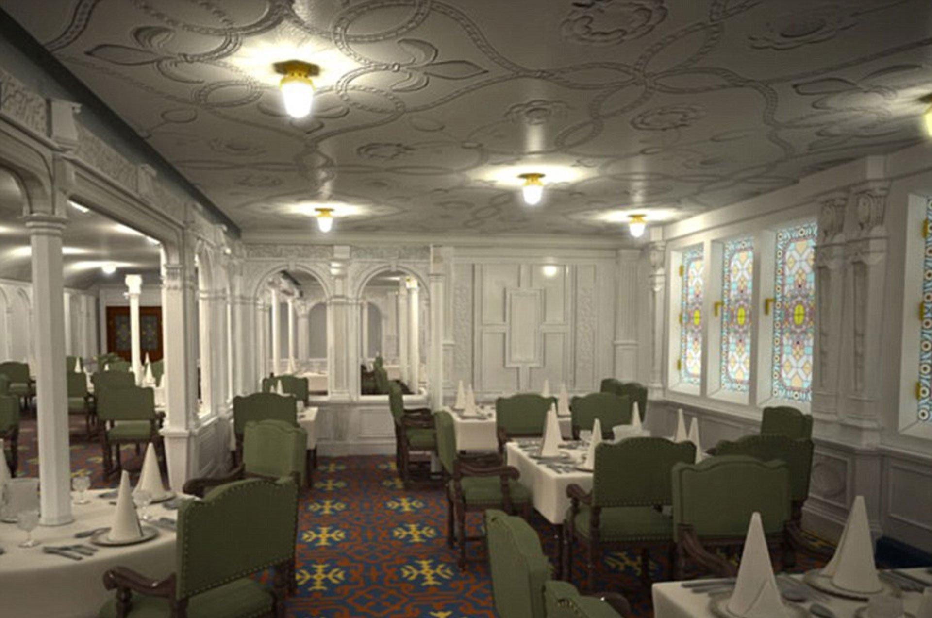 Así será la sala comedor de la primera clase del Titanic II, exactamente igual a la del RMS Titanic