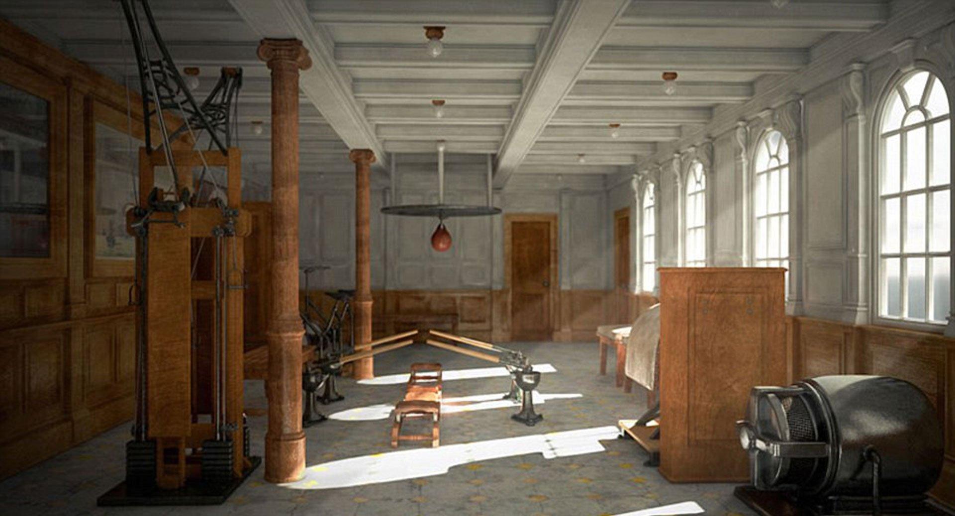 El particular gimnasio con que contarán los pasajeros del Titanic II, tal como era en 1912