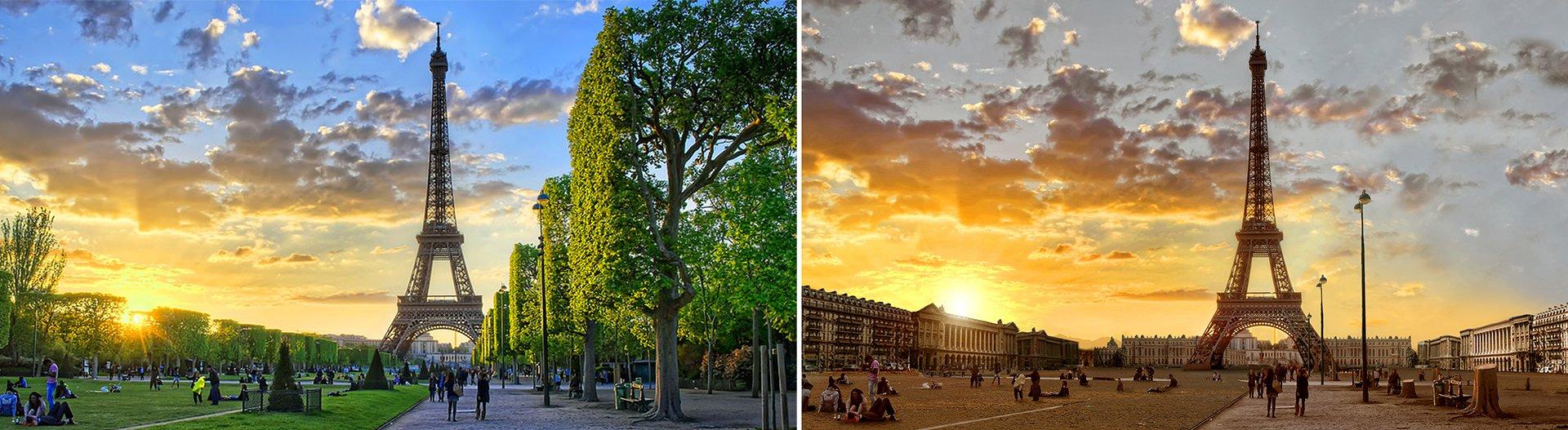 Imagen comparativa de la Torre Eiffel en la actualidad (izquierda) y una creación del diseñador Joel Krebs como si hubiera una sequía (derecha)
