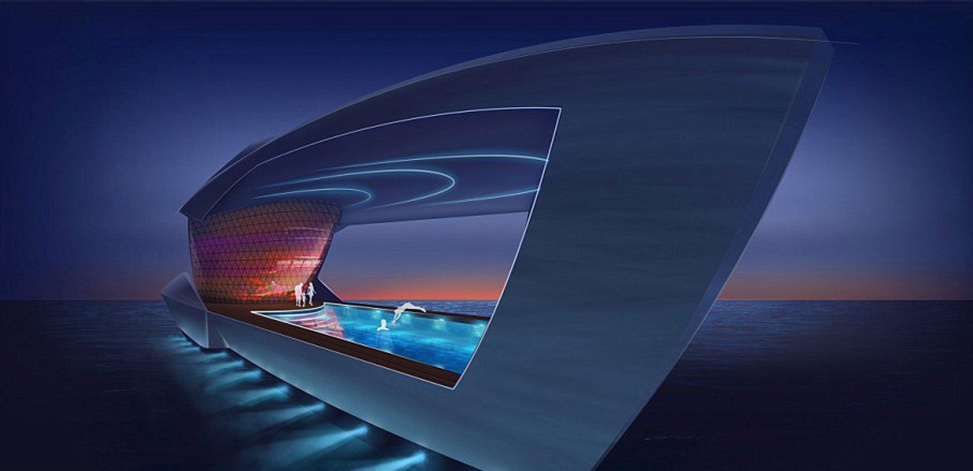 La piscina de 80 metros cuadrados de noche promete uno de los mejores momentos para sus pasajeros