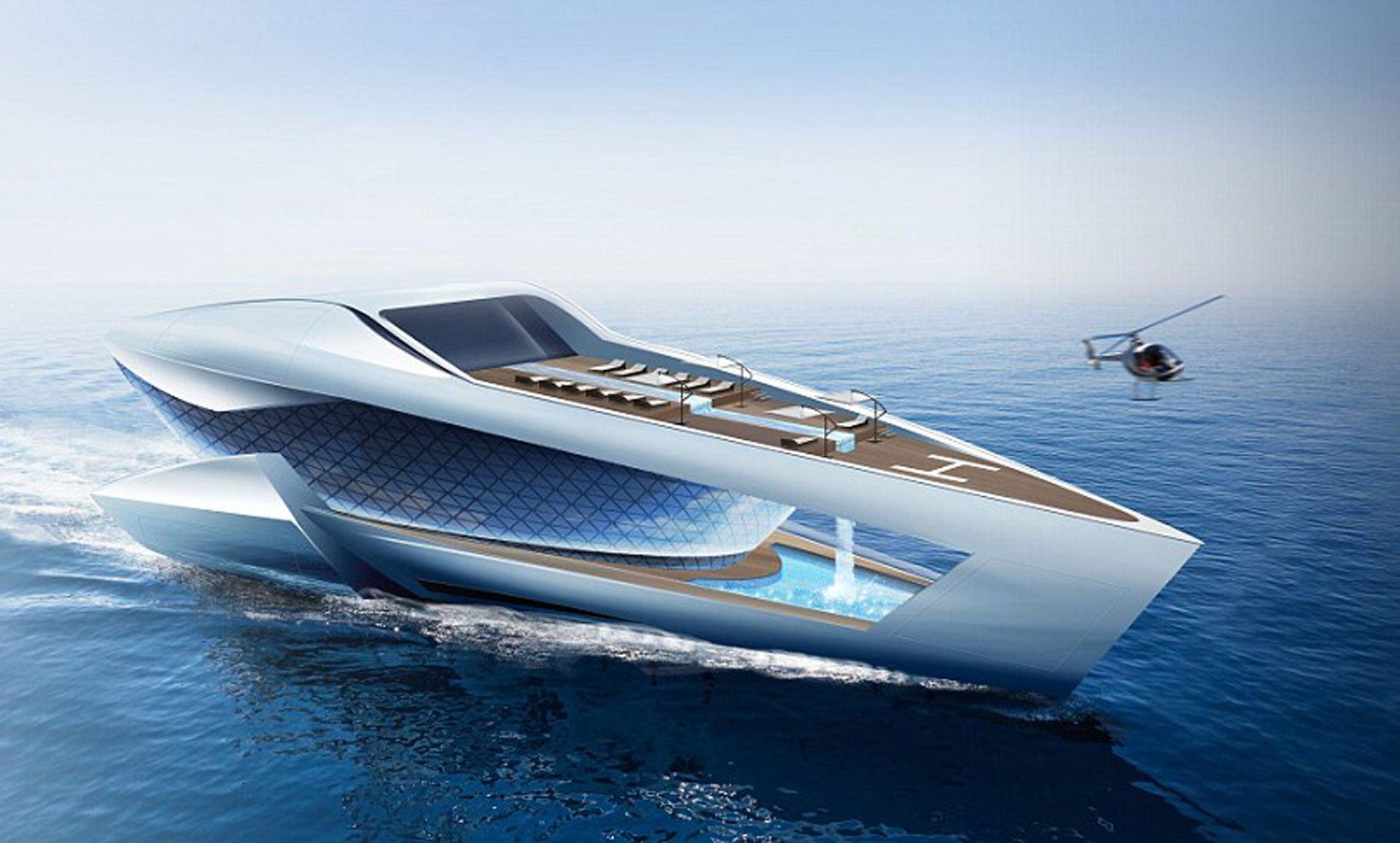 El superyate de Sea Level tendrá una cascada propia y los más increíbles lujos