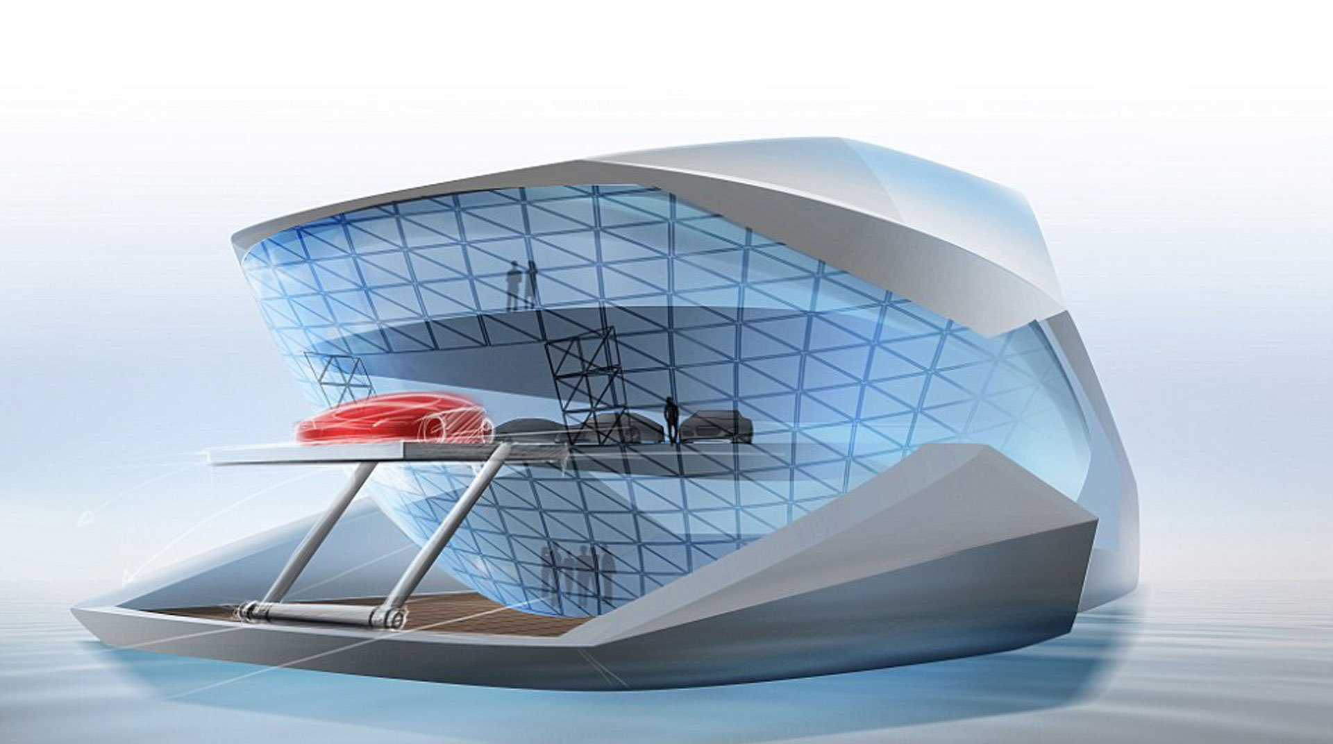 El innovador crucero tiene espacio para ocho automóviles