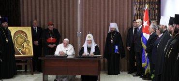 Al finalizar el dialogo a puertas cerradas, el papa Francisco y el patriarca Cirilo realizaron una declaración conjunta donde afirmaron haber llegado a un acuerdo sobre diversos puntos