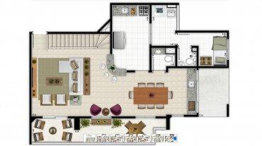 El primer piso del tríplex de Lula. Un amplio living comedor, un balcón con vista al mar, cocina y habitación para el servicio doméstico