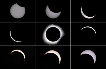 La progresión del eclipse total de sol, el único que se verá en 2016.