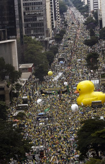 San Pablo fue una de las principales ciudades donde miles de manifestantes pidieron la renuncia de Dilma Rousseff