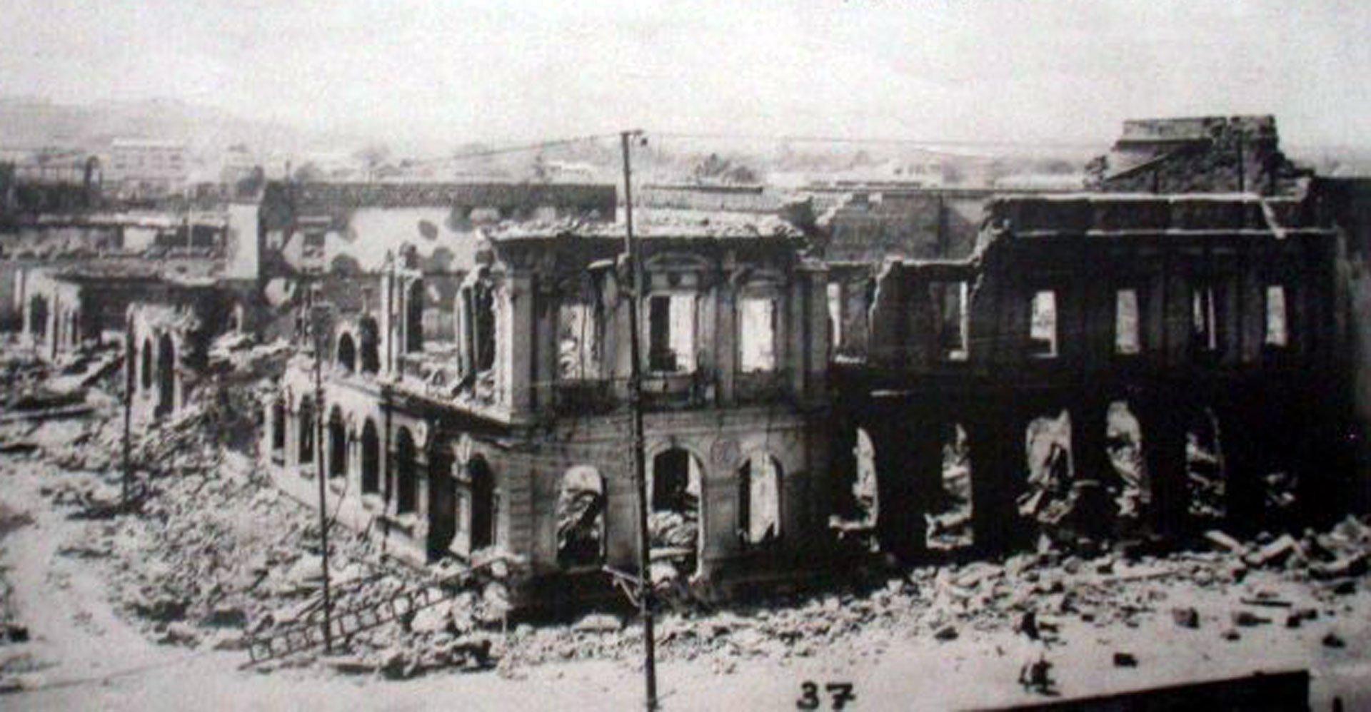 Managua, Nicaragua. 31 de marzo de 1931.El terremoto (6,2 en la escala de Richter) y el incendio posterior destruyeron gran parte de la ciudad de Managua y dejó 2.500 muertos